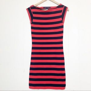 French Connection navy & red striped boat neck